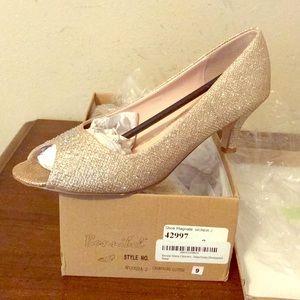 Champagne glitter heels with peep toe